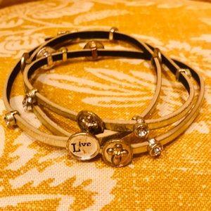 Jewelry - Gold Leather Inspiration Bracelet